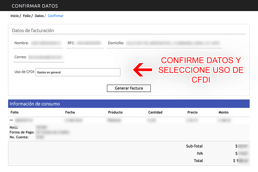 FacturaGAS Paso 4  Confirme sus datos y descargue su factura.