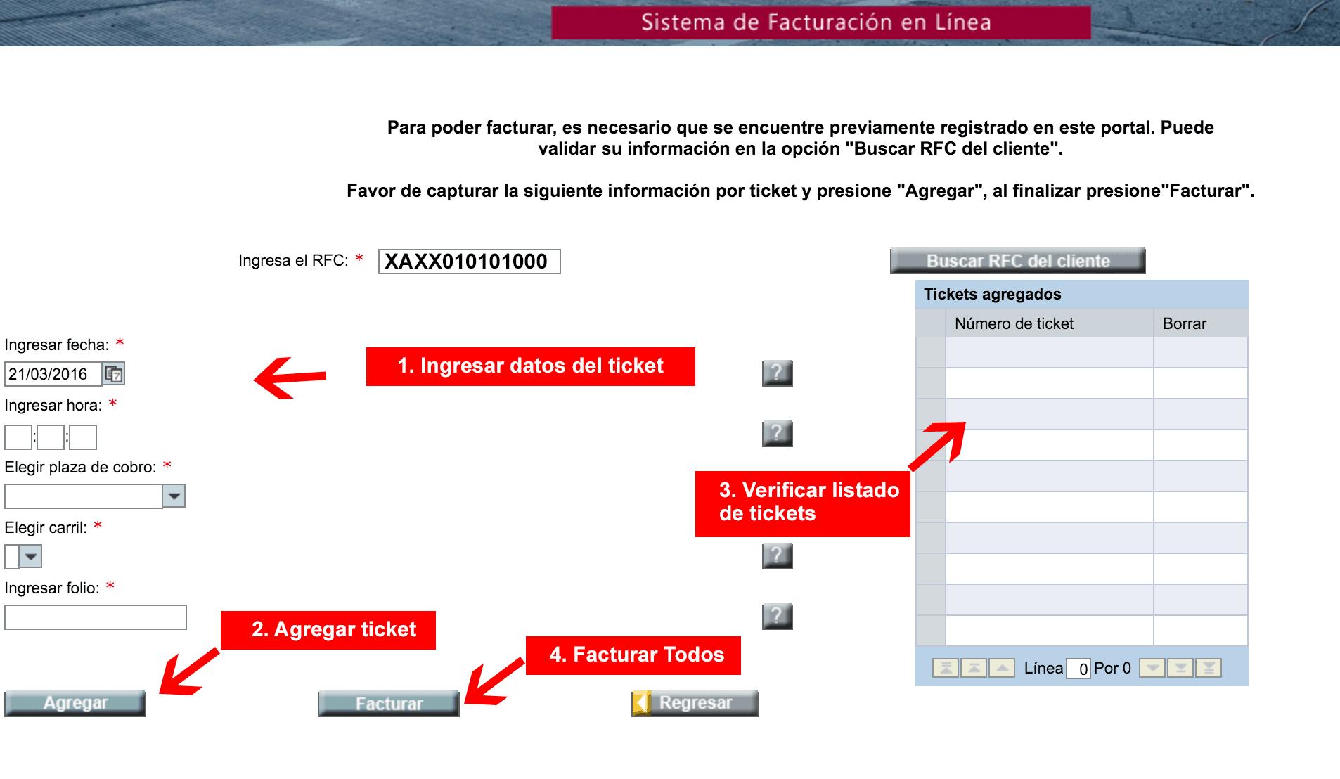 FacturaOibsa – Concesionaria de Infraestructura del Bajío  Paso 2 – Captura los datos del ticket.