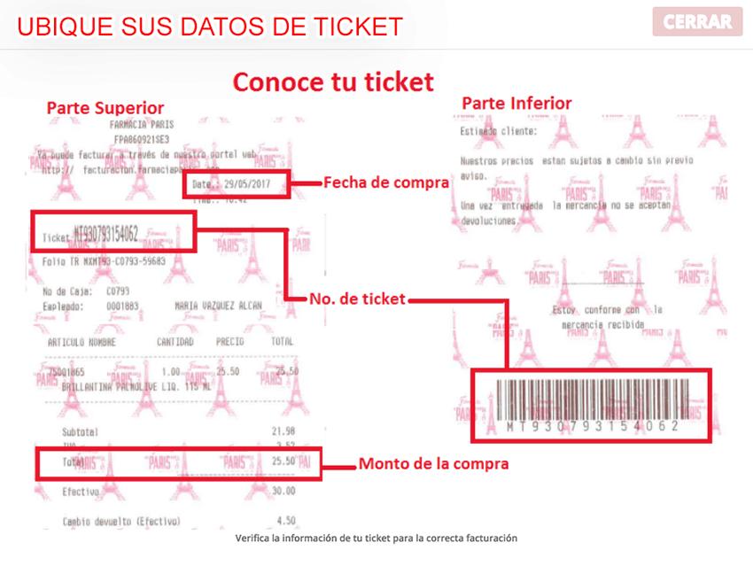 Farmacia Paris Paso 1  Instrucciones de facturación