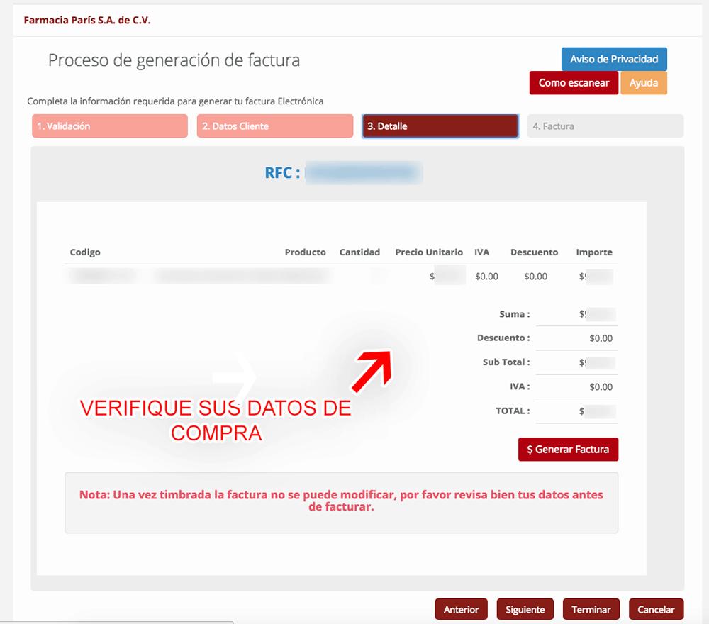 Farmacia Paris Paso 3  Confirmación de factura