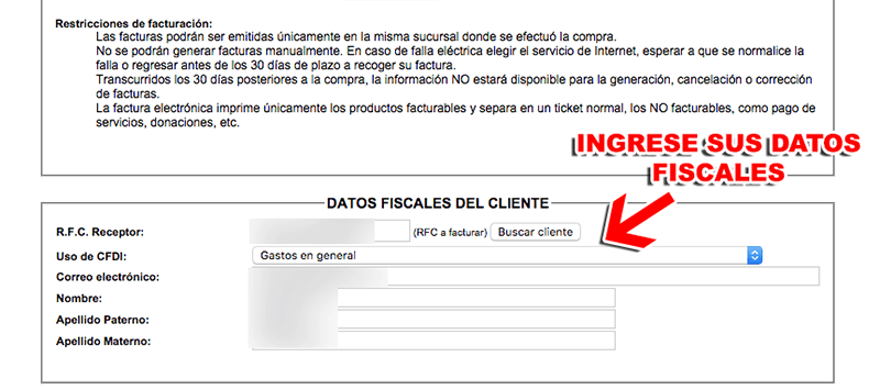 Farmacia San Pablo Paso 2  Captura de datos fiscales