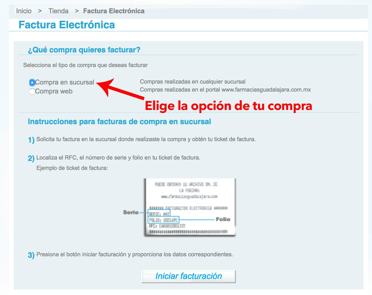 Farmacias Guadalajara Paso 1 Seleccione el tipo de Ticket a Facturar