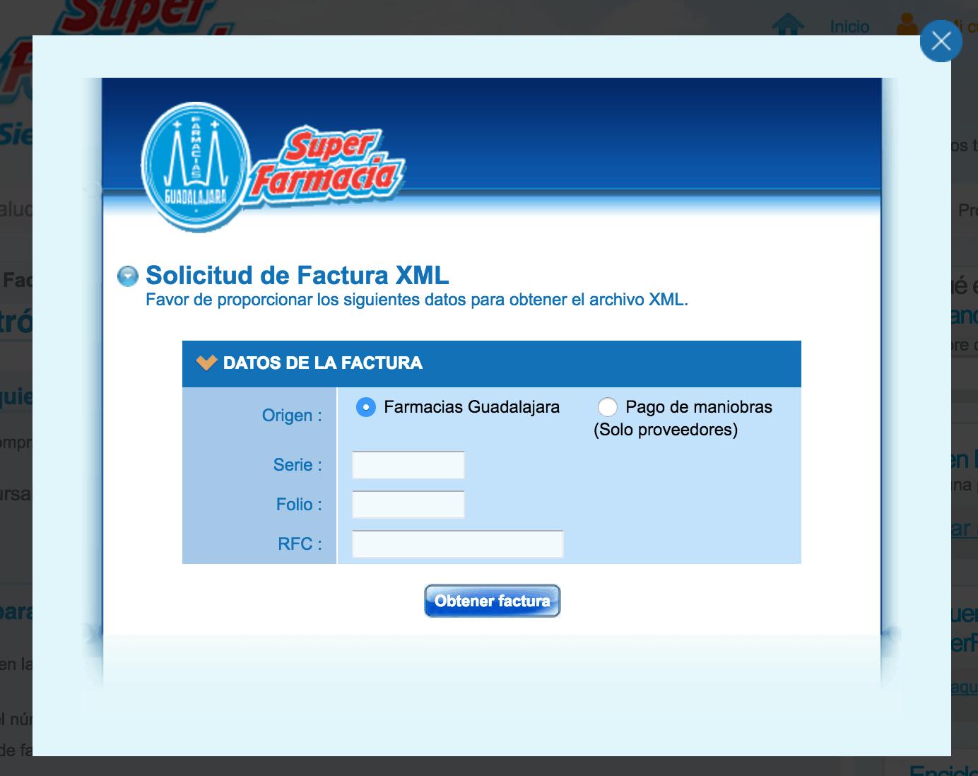 Farmacias Guadalajara Paso 2 Captura Datos de Ticket y RFC