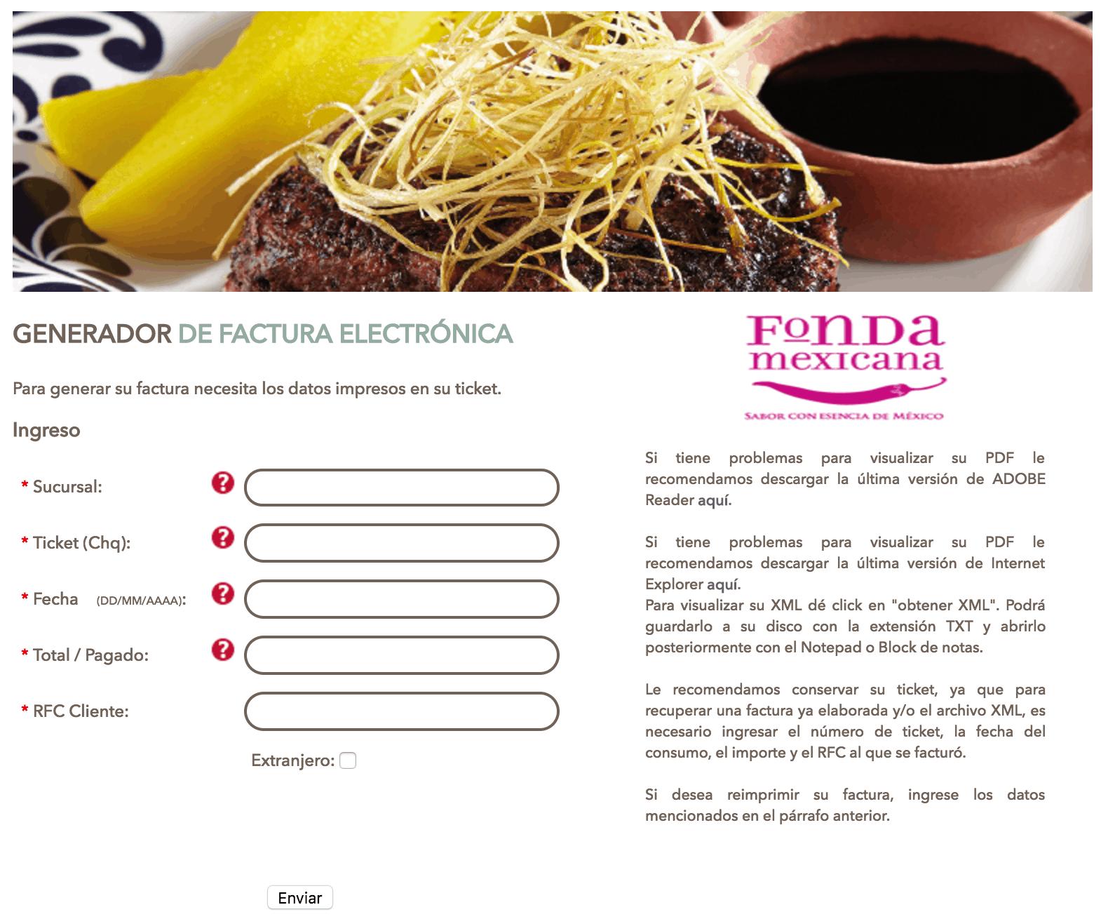 Fonda Mexicana Paso 1  Ingresar datos del ticket de consumo.