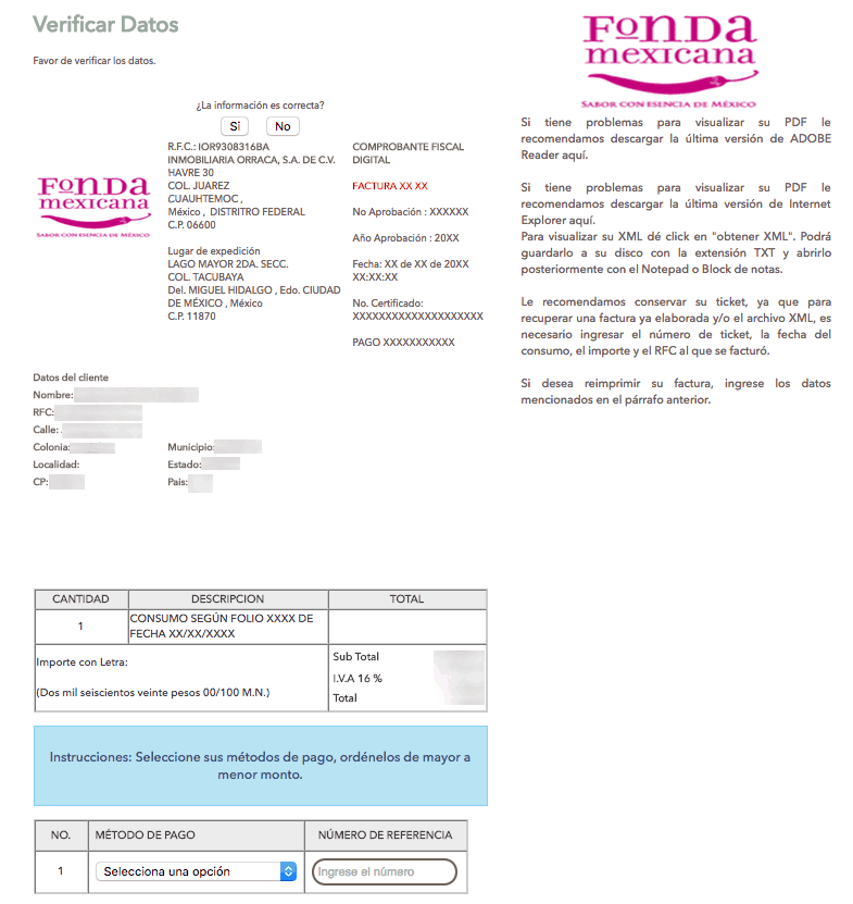Fonda Mexicana Paso 3  Descarguesu factura.