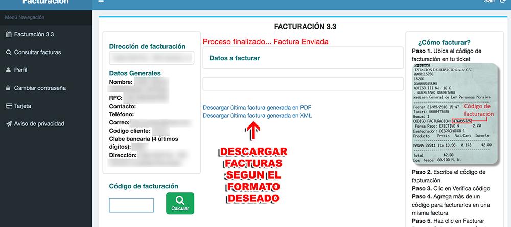 Gasocentro Paso 3  Facturación