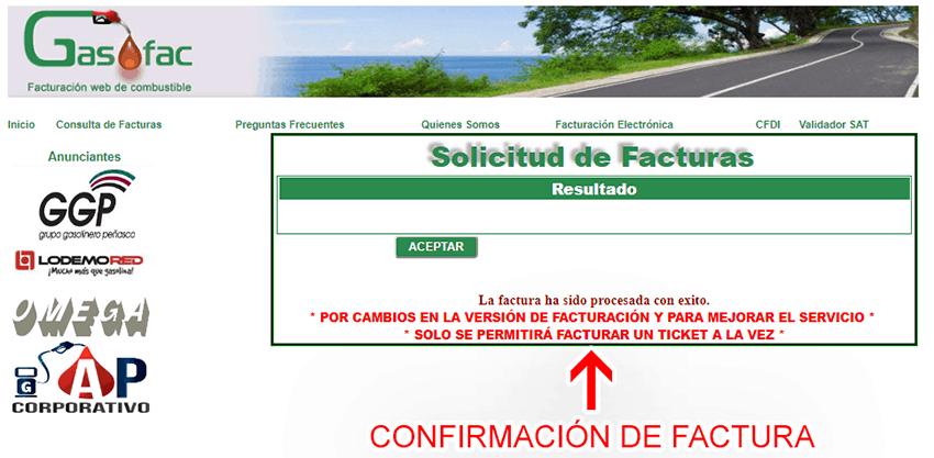 Gasofac Paso 3  Confirmación de factura