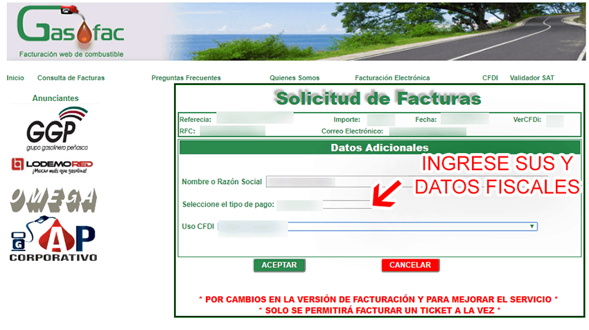 Gasofac Paso 2  Captura de datos fiscales