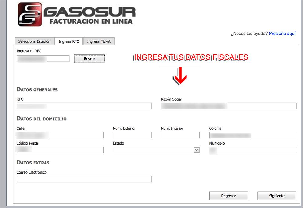 GasoSur Paso 2  Capture sus datos
