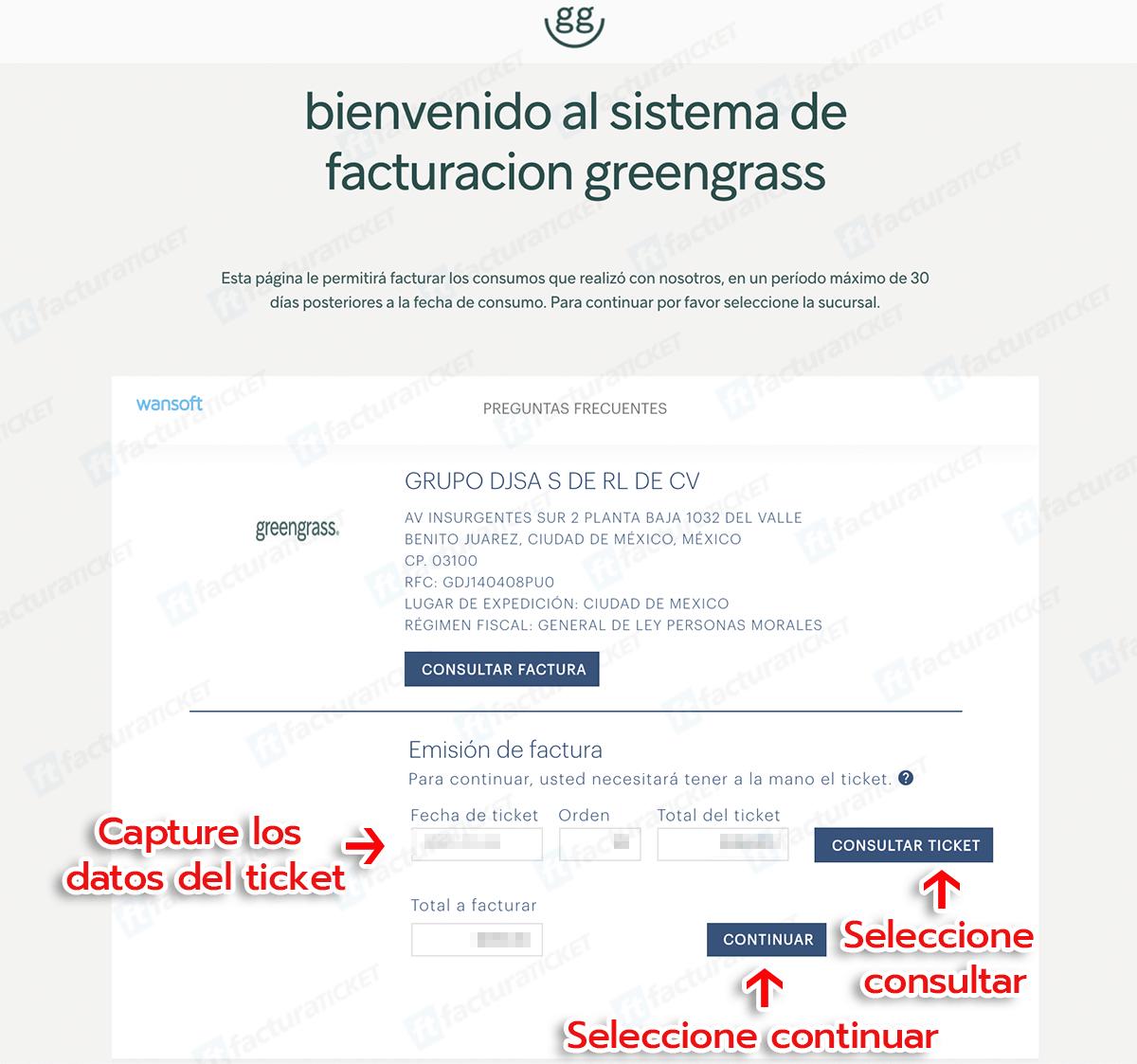 GREEN GRASS Paso 1  Elegir Sucursal y Captura Datos del Ticket