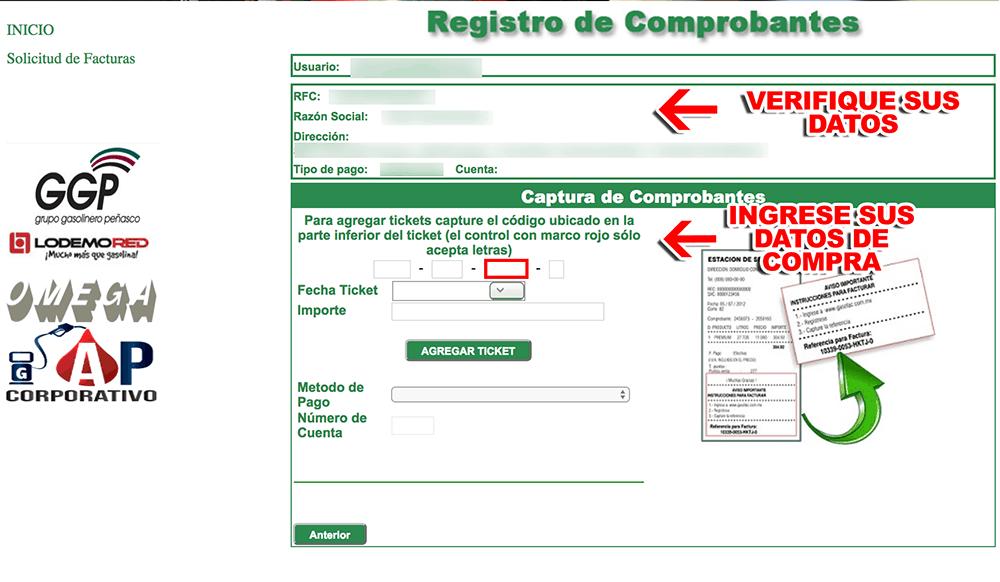 Grupo Gasolinero Peñasco Paso 3  Captura de datos de compra