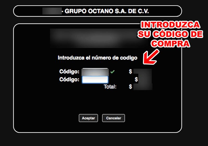 Grupo Octano Paso 2  Captura de datos de compra