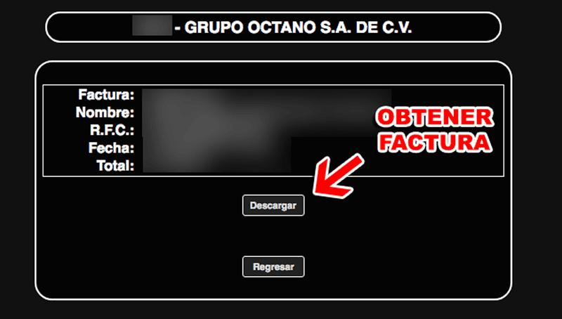 Grupo Octano Paso 3  Confirmación desu factura.