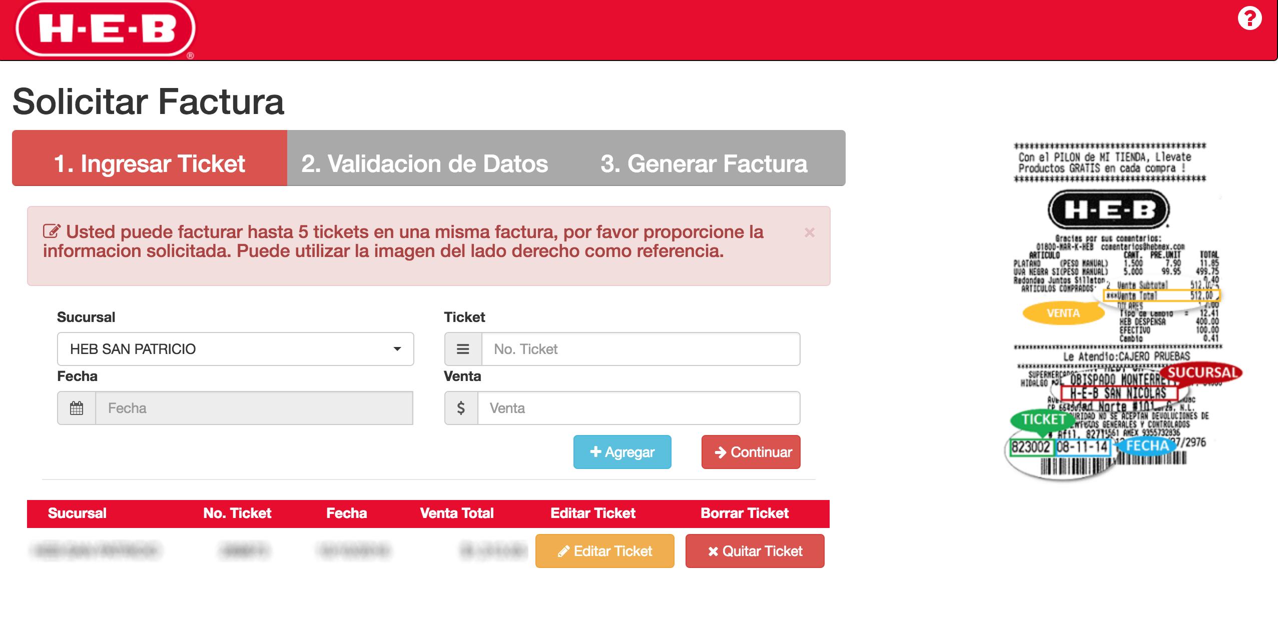 HEB Paso 1  Ingresar datos de ticket de compra.