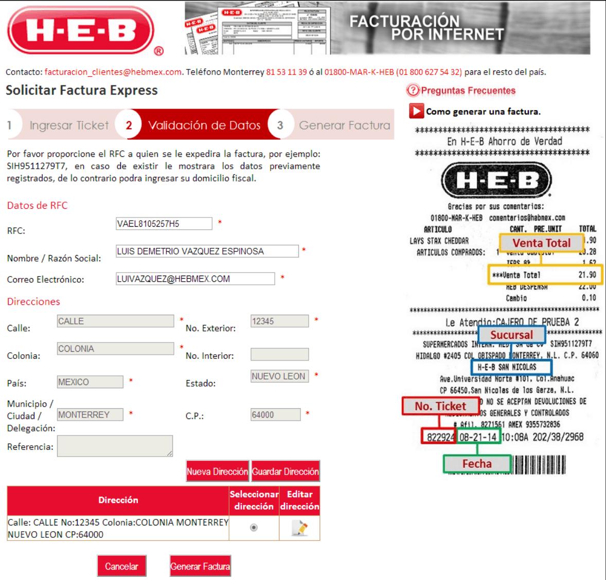 HEB Paso 2  Capture Datos de RFC