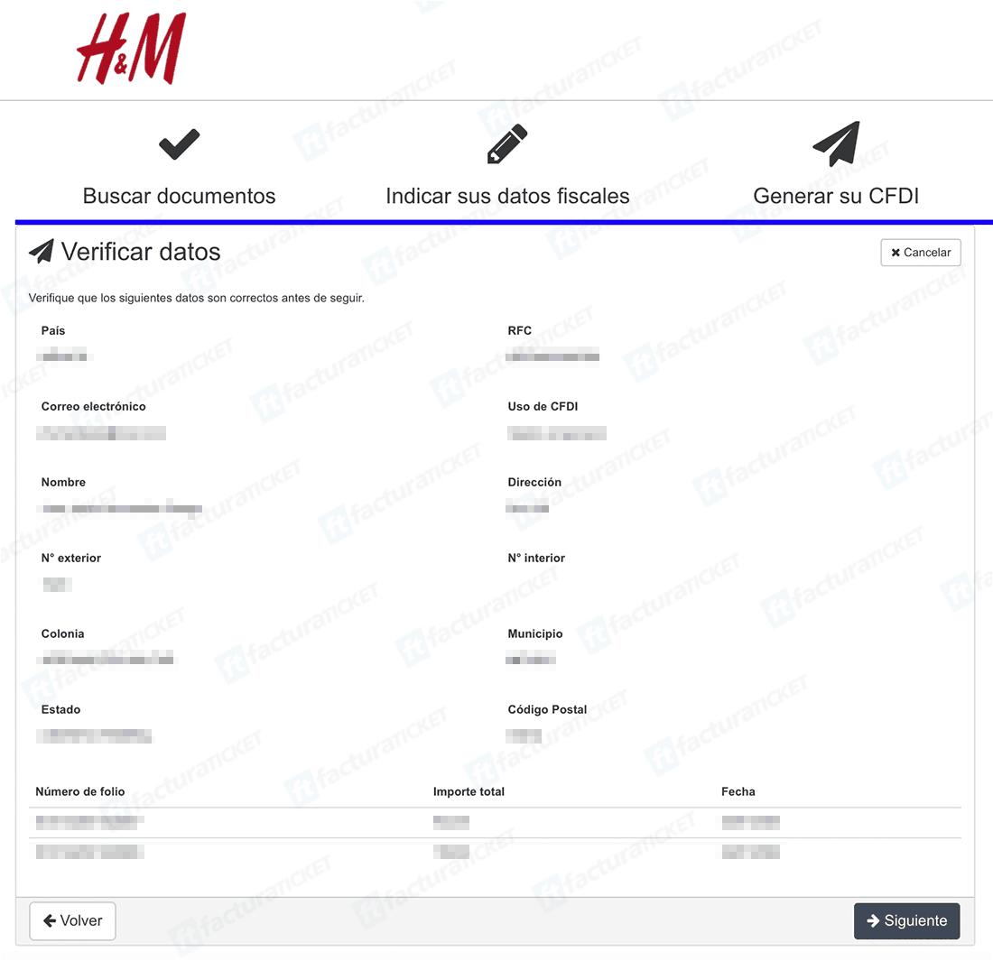 H&M Paso 3  Confirmación y descarga de factura