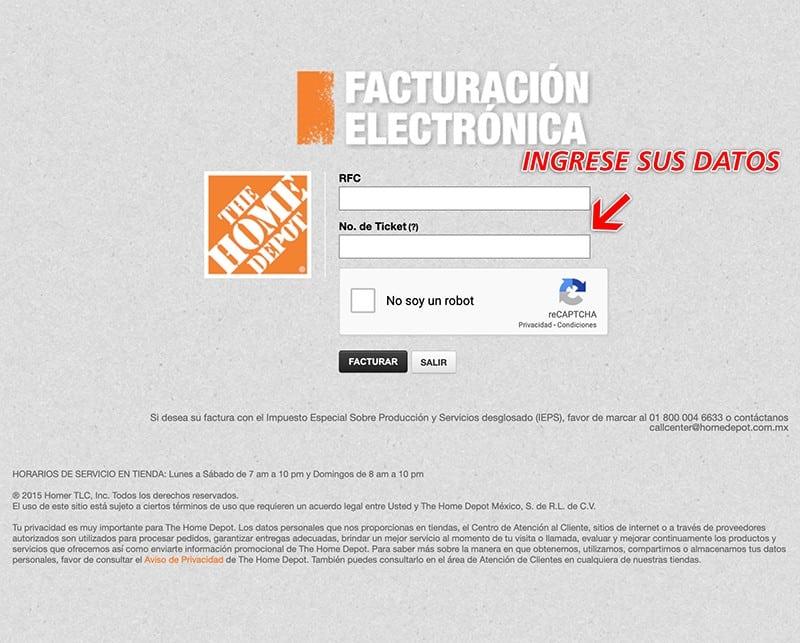 Home Depot Paso 1  Capture Datos de Ticket y RFC