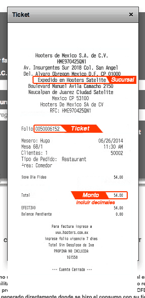 Hooters Paso 1  Capture Datos del Ticket