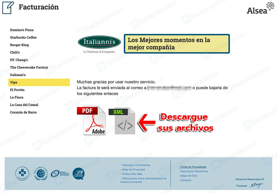 Italianni's Paso 3  Descarguesu factura.