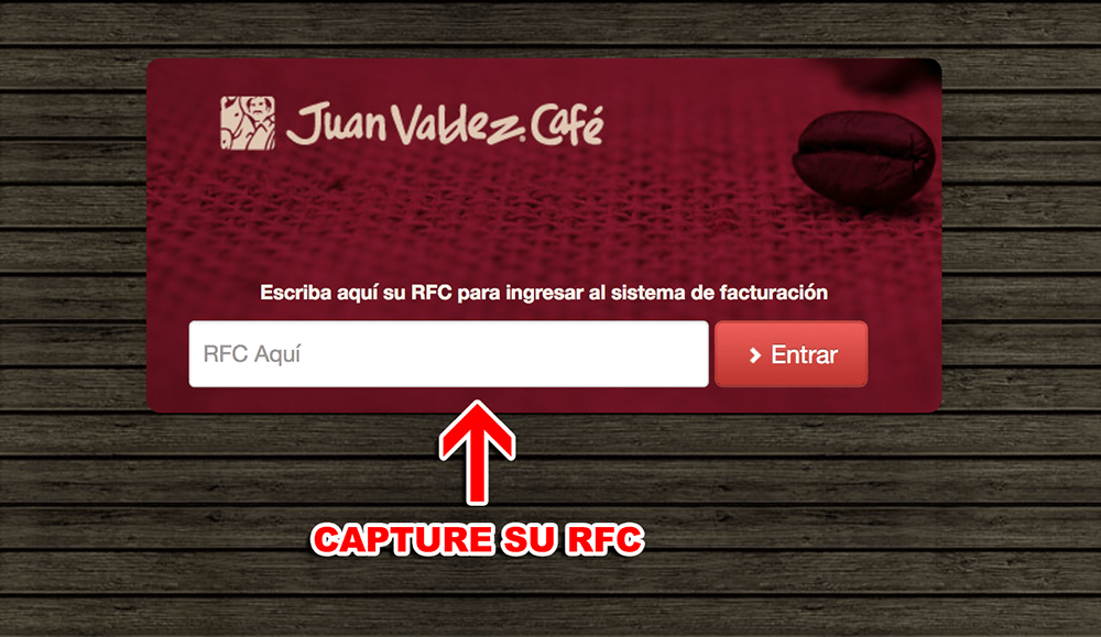 Juan Valdez Café Paso 1  Captura de RFC