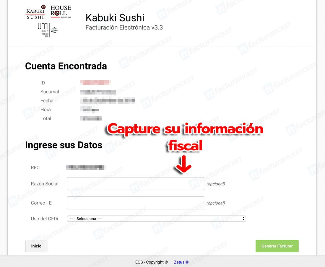 KABUKI SUSHI Paso 2  Capture Datos del RFC y Correo Electrónico