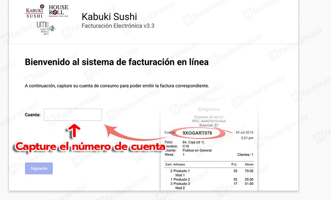KABUKI SUSHI Paso 1  Capture la Clave del Ticket.