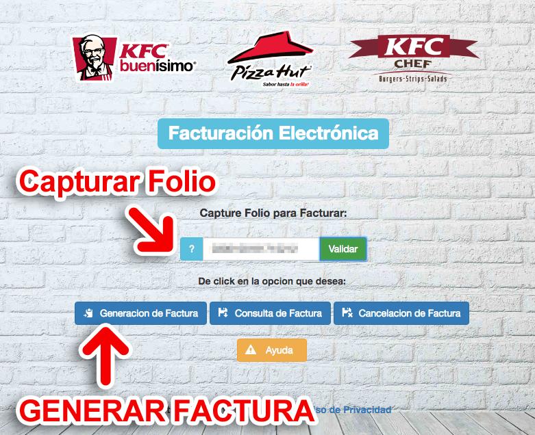 KFC Paso 1  Capture Datos del Ticket