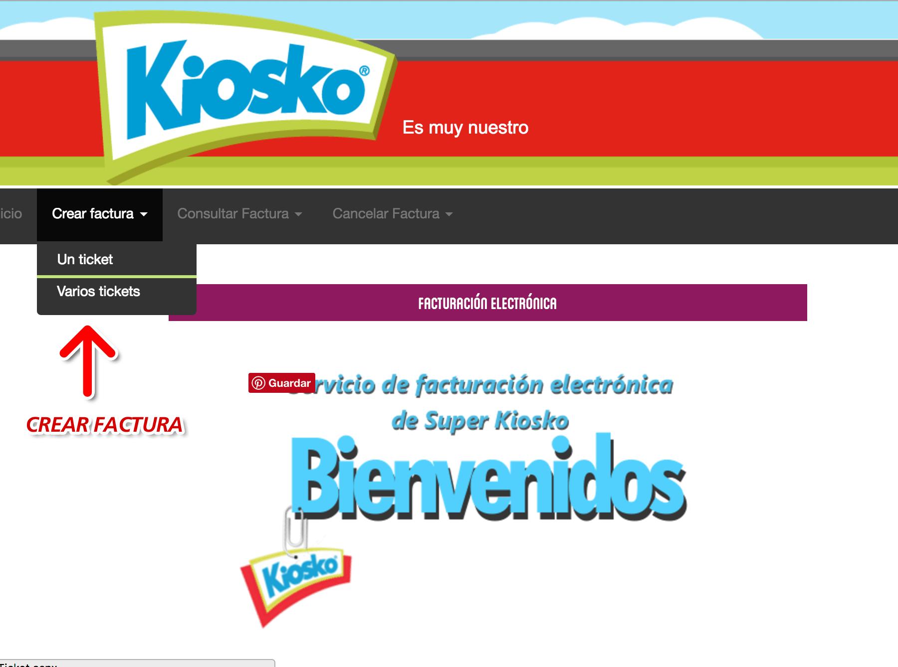Kiosko Paso 1  Ingresar datos de ticket de compra.