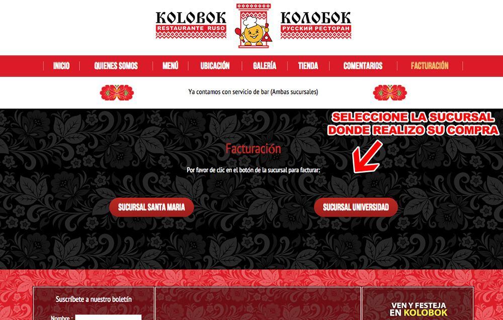 KOLOBOK Paso 1  Selección de sucursal de compra