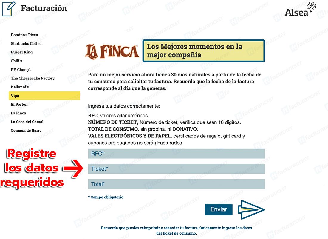 La Finca Paso 1  Ingresar datos de ticket de compra.