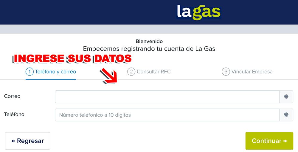 La Gas Paso 1  Registro en el sistema