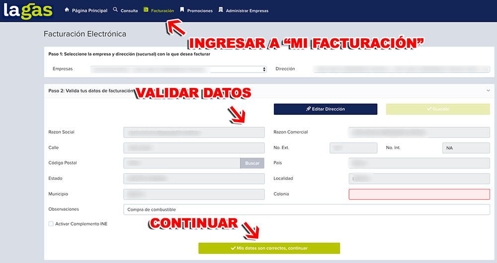 La Gas Paso 2  Selección y verificación de datos de usuario