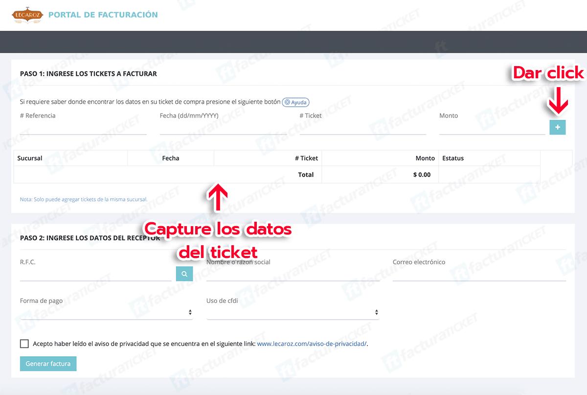 Lecaroz Paso 1 Capture los datos del ticket