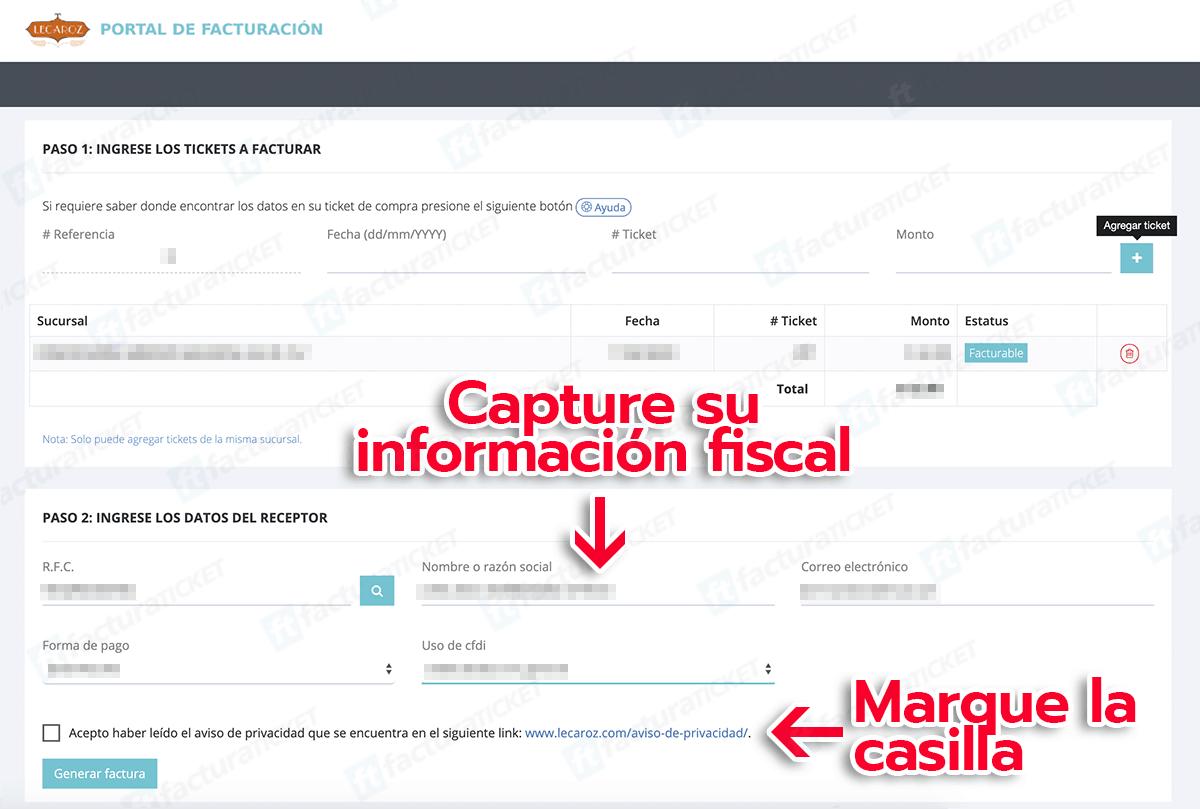 Lecaroz Paso 2  Capture su información fiscal: