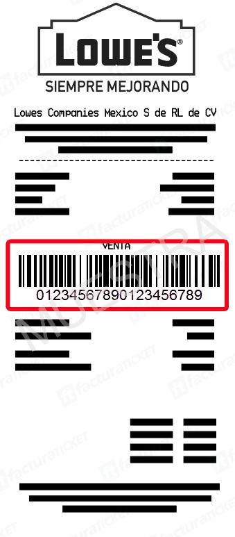 LOWE'S Paso 1  Ingresar datos de ticket de compra.