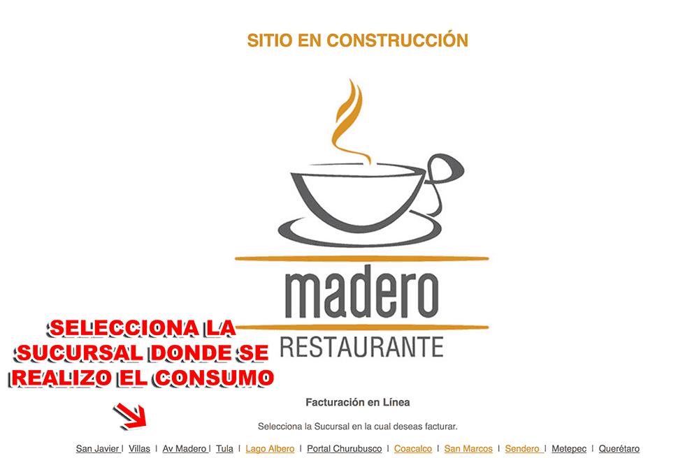Madero Restaurant Café Paso 1  Selección de Sucursal