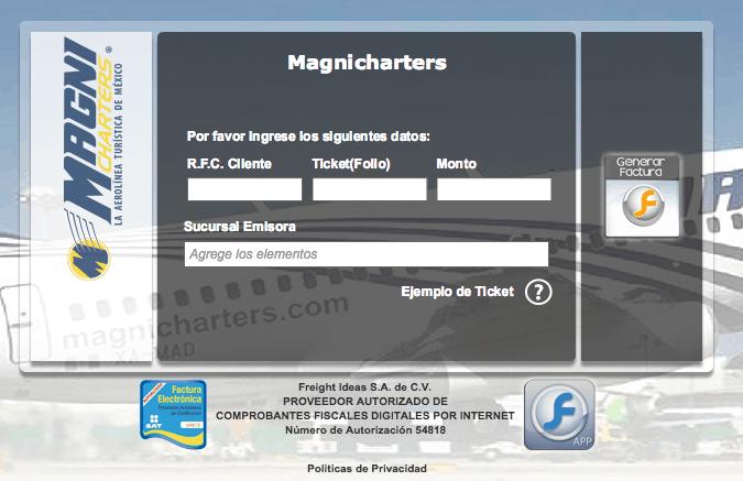 Magnicharters  Paso 1  Capture Datos del Ticket
