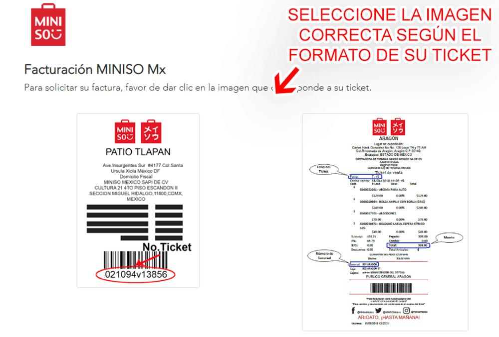 Miniso México Paso 1  Selección de formato de ticket
