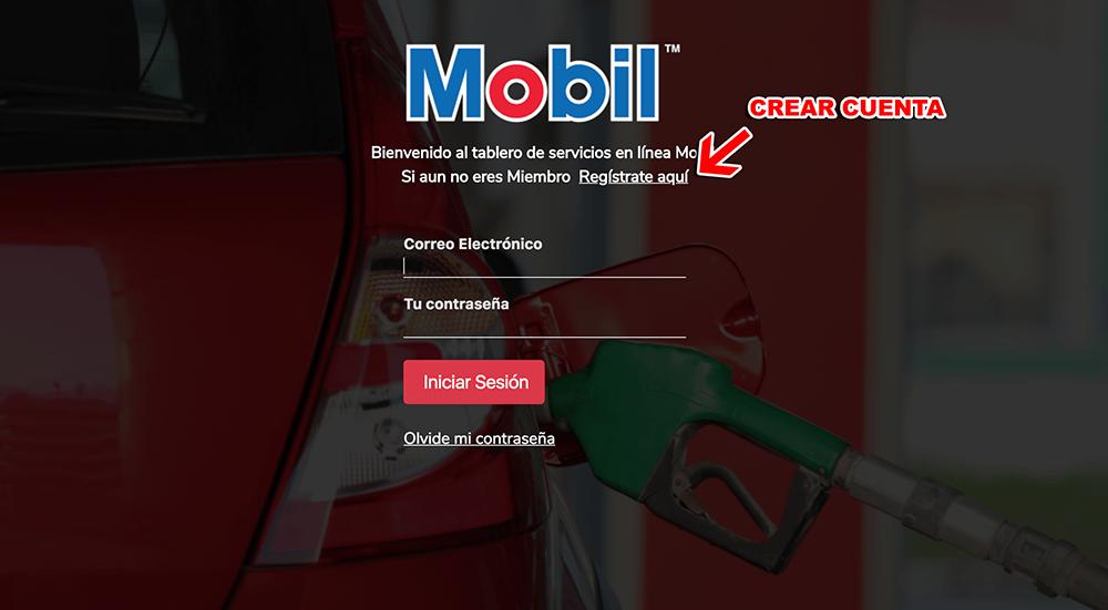 Mobil Gasolineras Paso 1  Registro en el sistema