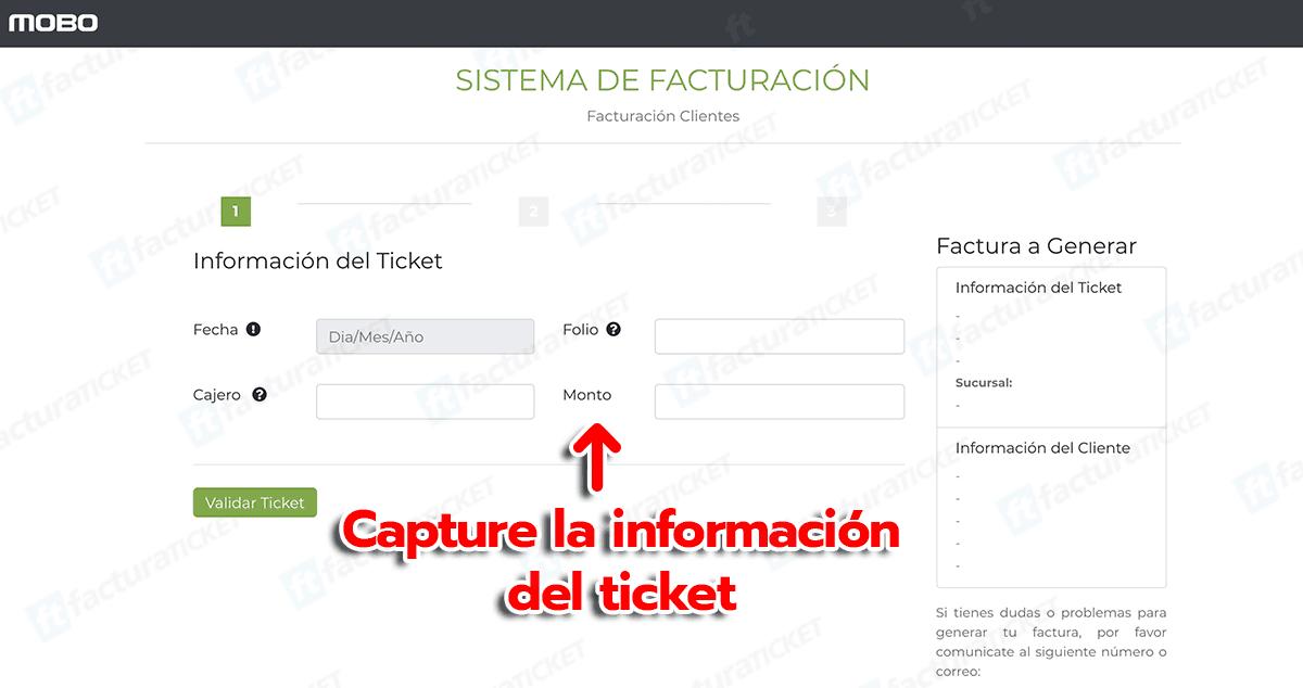 Mobo Paso 1  Capture los datos del Ticket