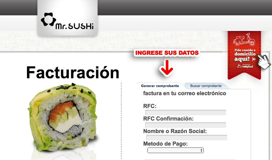 Mr. Sushi Paso 1  Captura de RFC, nombre y método de pago