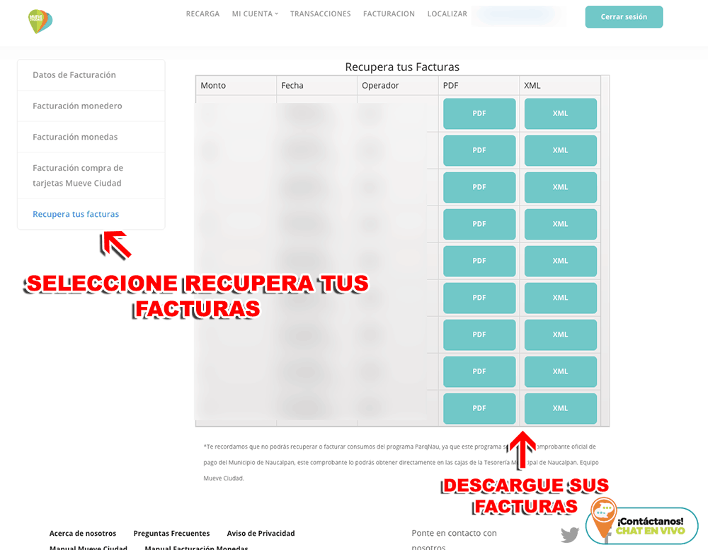 MueveCiudad – Parquímetros Ecoparq (Monedero) Paso 3  Confirmación de Factura