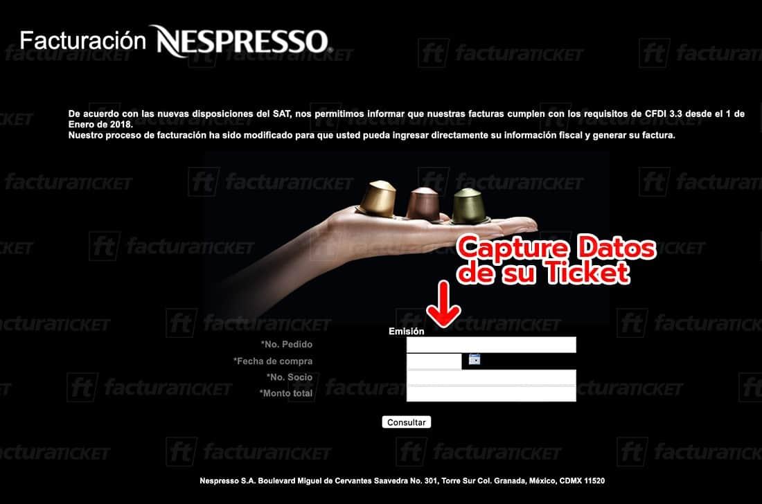 Nespresso Paso 1 Capturar datos del ticket