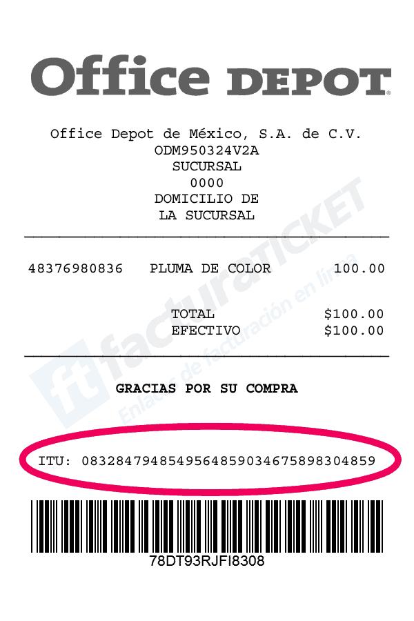 Office Depot Paso 1 Ubique en su ticket el código ITU