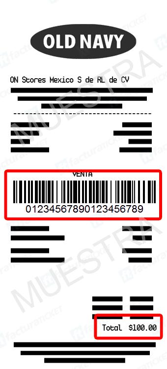 Old Navy Paso 1  Captura de datos de compra