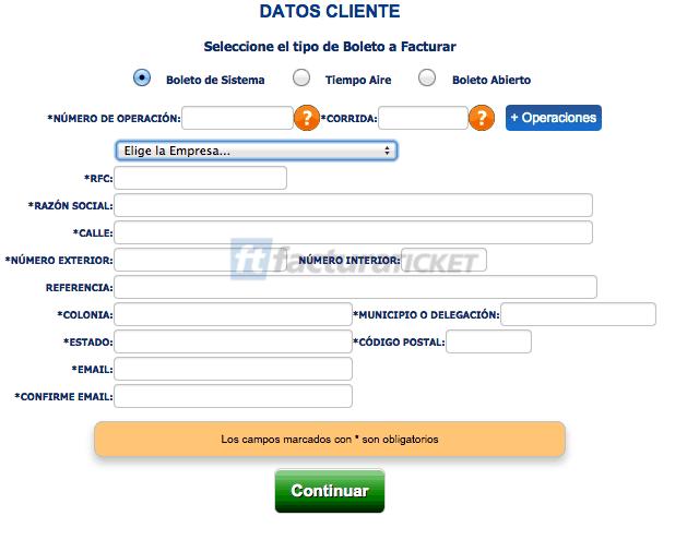 Omnibus de México  Paso 2 –Capture los datos del boleto y de su Domicilio Fiscal