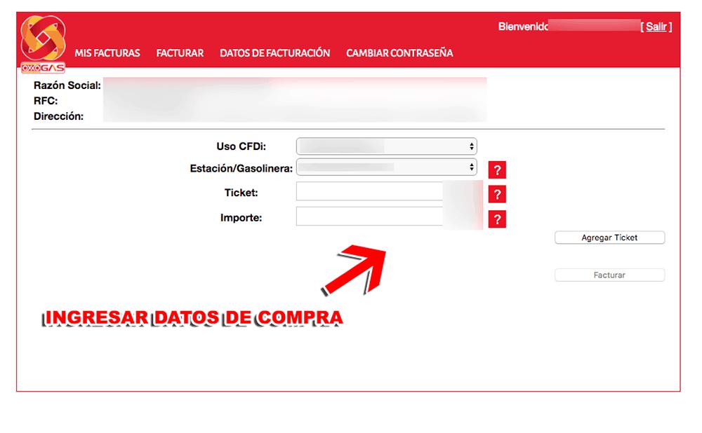 OXXO GAS Paso 3  Captura de datos de compra y descarga de factura