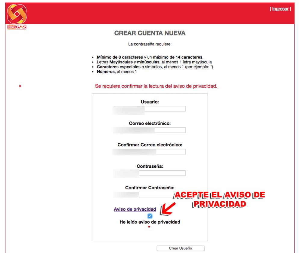 OXXO GAS Paso 1  Creación de nuevo usuario