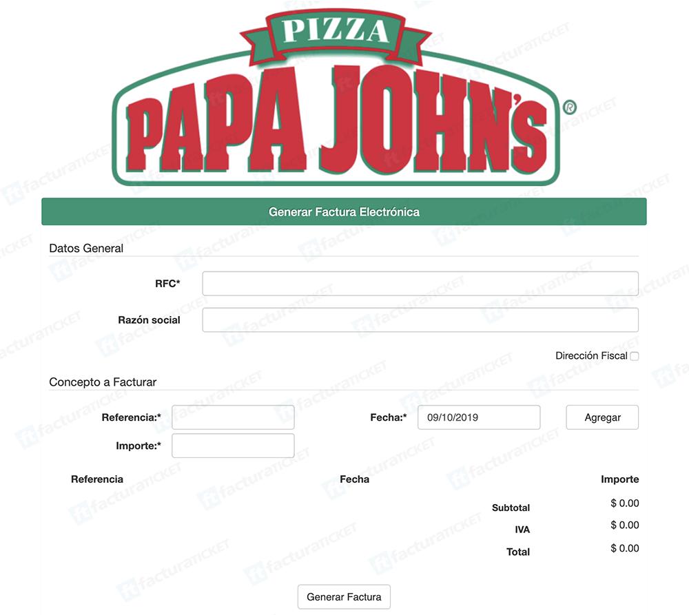 Papa John's Paso 1  Captura de RFC y datos de compra.