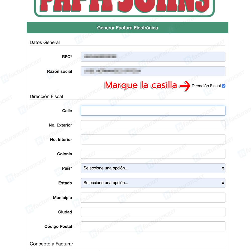 Papa John's Paso 2  Captura y verificación de los datos fiscales